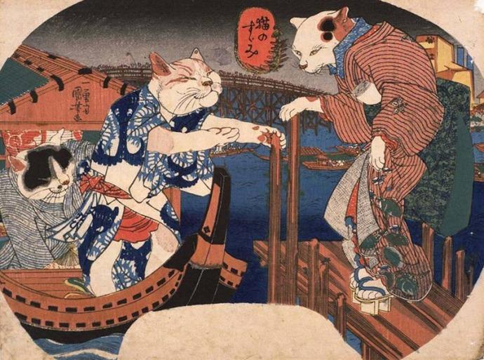 ukiyoe-cats-in-a-boat