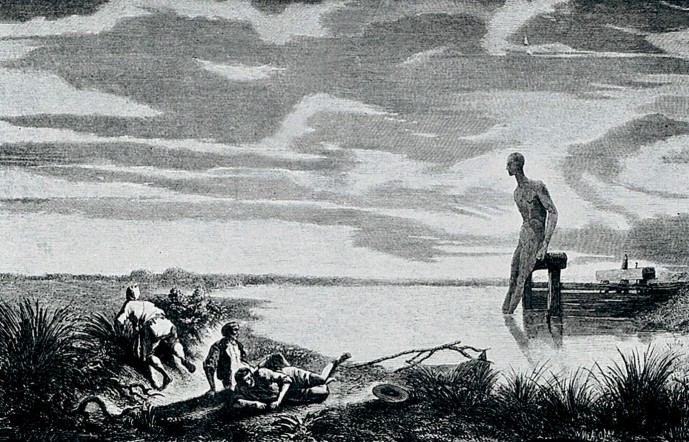 V0010519 An allegory of malaria. Reproduction of an engraving after M
